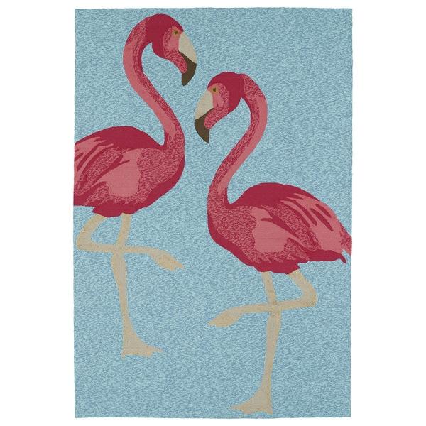 Indoor Outdoor Beachcomber Flamingo Blue Rug 7 6 X 9