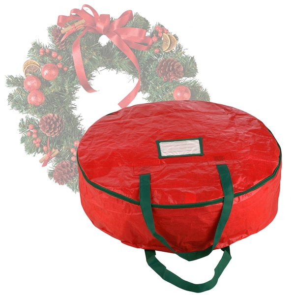 Elf Stor Premium Red Holiday Christmas Wreath Storage Bag