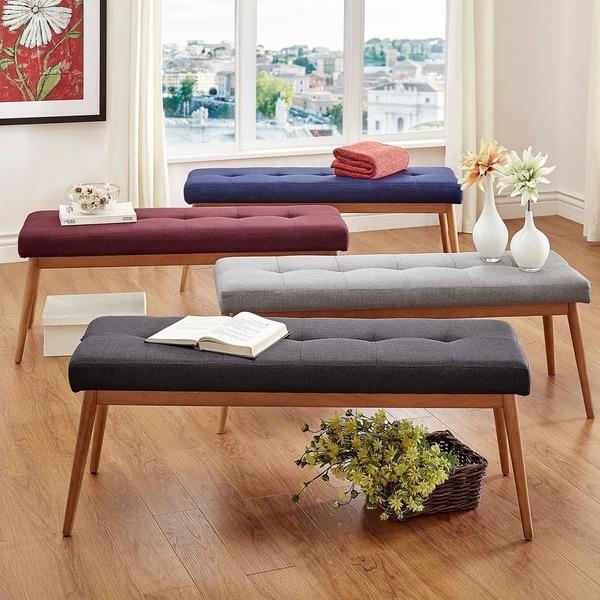 Wooden Dining Room Benches: MID-CENTURY LIVING Sasha Oak Angled Leg Linen Bench