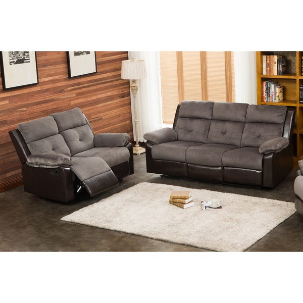 Stanford Grey Chocolate Reclining Sofa And Loveseat Set