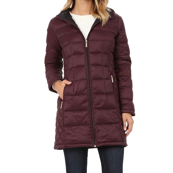 Michael Michael Kors Burgundy Quilted 3 4 Length Down Coat