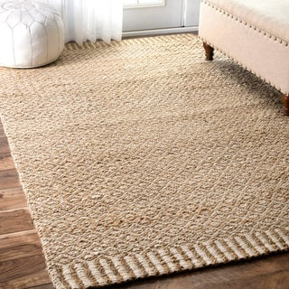 Hand Woven Braided Natural Fiber Jute And Cotton Area Rug