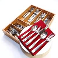 Oneida Everdine Stainless Steel 65-Piece Flatware Set with Bamboo Storage Caddy