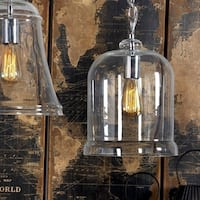 Benzara Inc. Silver Glass Hanging Lamp with Bulb