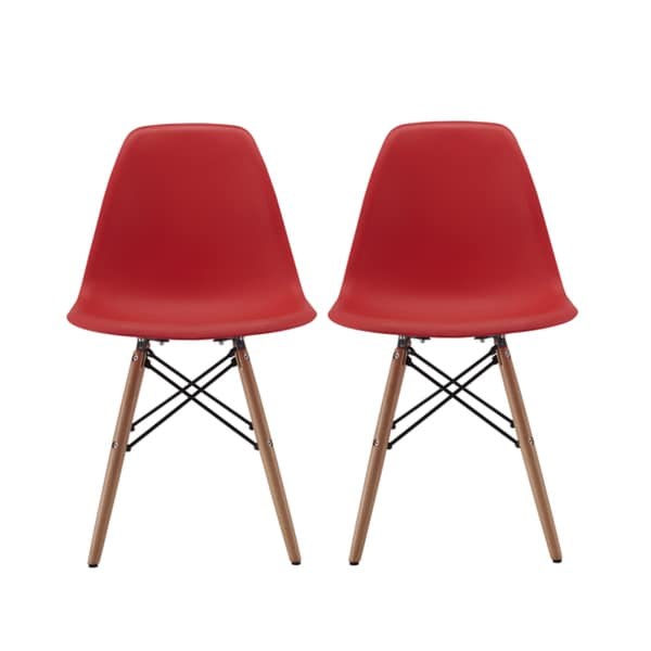 Modern EAMES Style Chair Natural Wood Legs In Color White