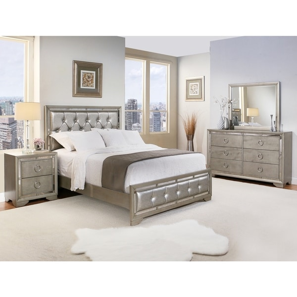 Greyson Living Laguna Antique White Panel Bed 6piece: Abbyson Living Valentino Mirrored And Leather Tufted 5