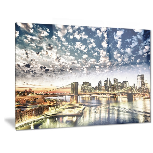 Designart New York City Skyline Panorama 5 Piece Wall: Designart 'New York City' Manhattan Skyline' Cityscape