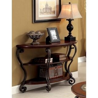 Furniture of America Cohler Brown cherry-finished Wood/Metal Elegant Half-moon Sofa Table