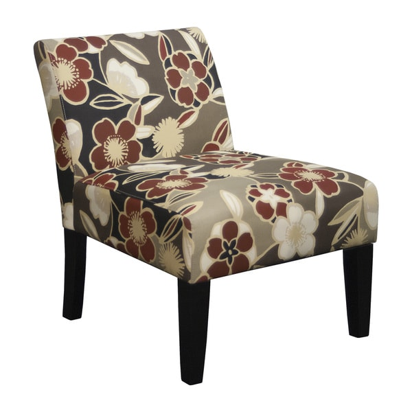 Trendsetter Red Beige Brown Polyester Fabric Foam Armless