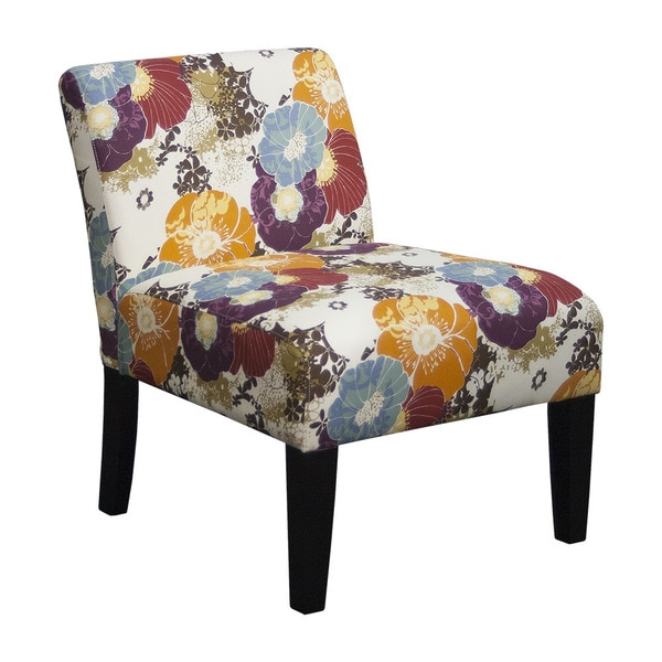 Multicolored Fabric Armless Floral Accent Chair 18775154