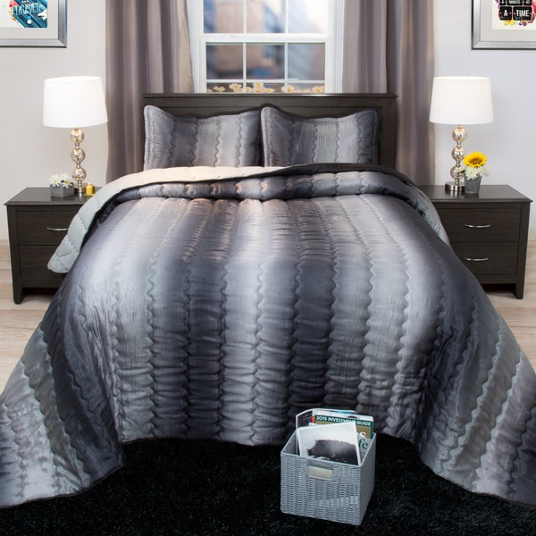 Windsor Home Striped Charcoal And Silver Metallic