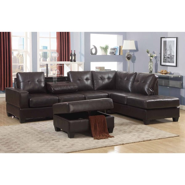 Maria Dark Brown Faux Leather 3-Piece Sectional Living