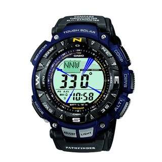 """Casio Men's """"Pathfinder"""" Sport Watch with Black Leather and Blue Cloth Band"""