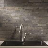 Aspect 6 x 24-inch Iron Slate Peel and Stick Stone Backsplash