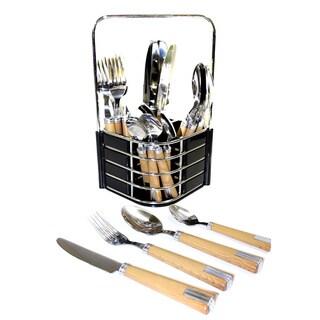 Bellamo Bamboo Style 26 Piece Flatware Set 14261589