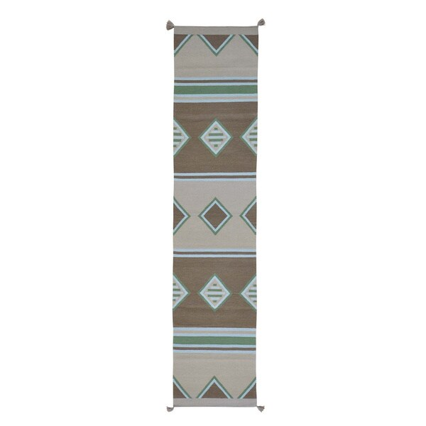 Southwest Handwoven Flat Weave Pure Wool Runner Rug - 2'7 x 12'