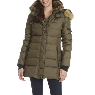 d06daf5c8b86 review detail S13 Women s Green Down Quilted Coat With Faux-fur Trim Hood