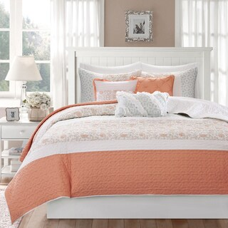 The Gray Barn Sleeping Hills 6-piece Coral Cotton Percale Quilted Coverlet Set