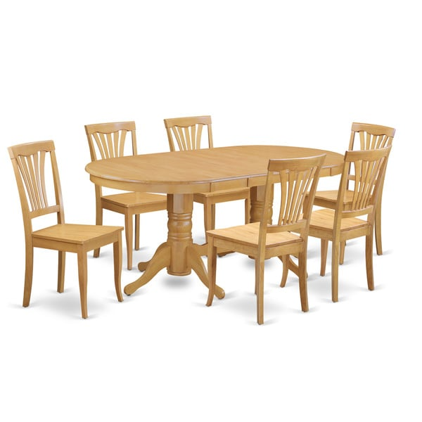Oval Dining Room Table Sets: VAAV7-OAK 7 PC Dining Room Set-Oval Table With Leaf And 6