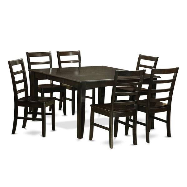 Formal Dining Room Sets For 6: PARF7-CAP Black Rubberwood 7-piece Formal Dining Room Set