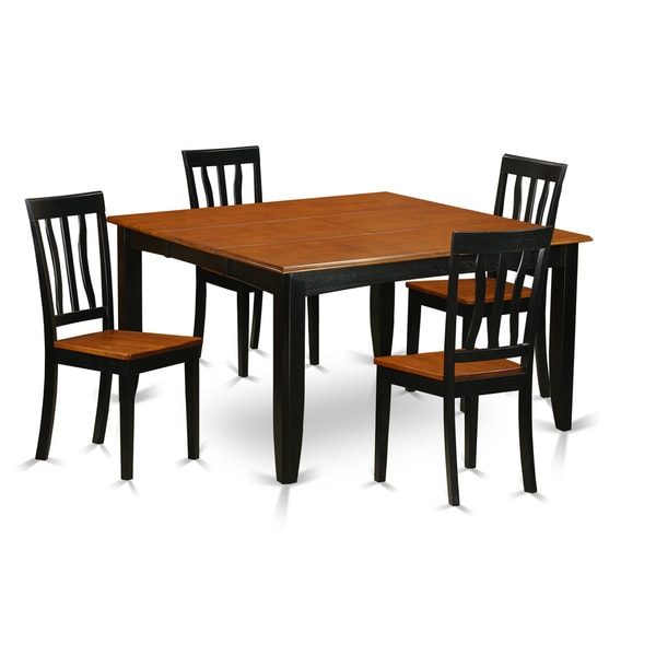 Cherry Kitchen Table And Chairs: PFAN5-BCH Black/Cherry Rubberwood Kitchen Dining Table And