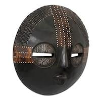 Handmade Sese Wood 'Kokobene Luck' Mask (Ghana) - Black - N/A