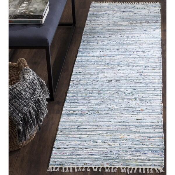Safavieh Hand Woven Rag Rug Light Blue Multi Cotton Rug