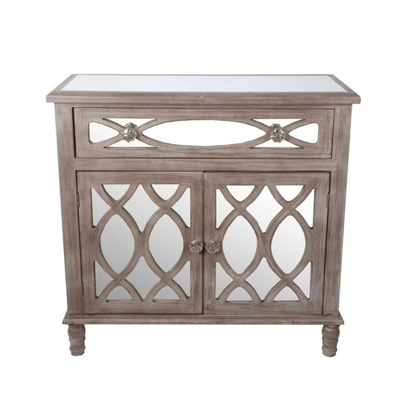 Privilege Brown Wood Single Drawer 2 Door Mirrored Accent