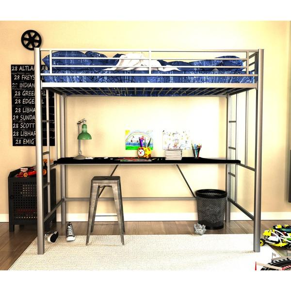 Dhp Twin Silver Metal Loft Bed With Desk 18875381