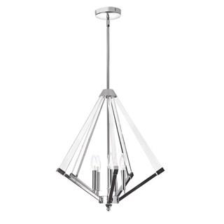 Dainolite Polished Chrome Acrylic Arm 5-light Chandelier
