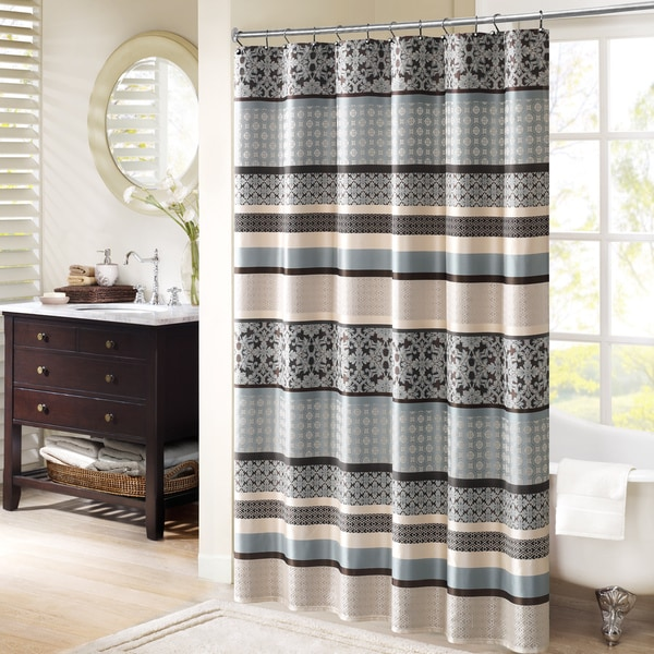 Madison park harvard jacquard shower curtain 2 color - Madison park bathroom accessories ...
