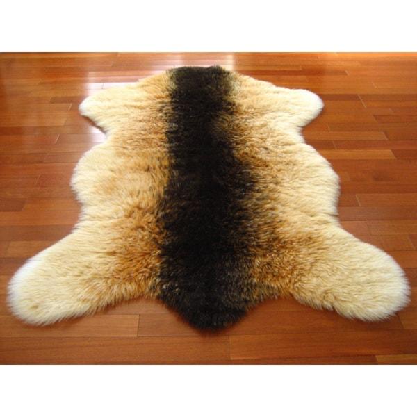 Brown Orange White Shaggy Goat Pelt Faux Fur Rug 3 3 X 4