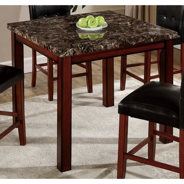 Overstock Bar Table: Cherry Oak Faux Marble Bar Table