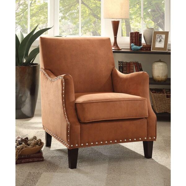 Sinai Orange Dark Brown Fabric Foam Poplar Accent Chair