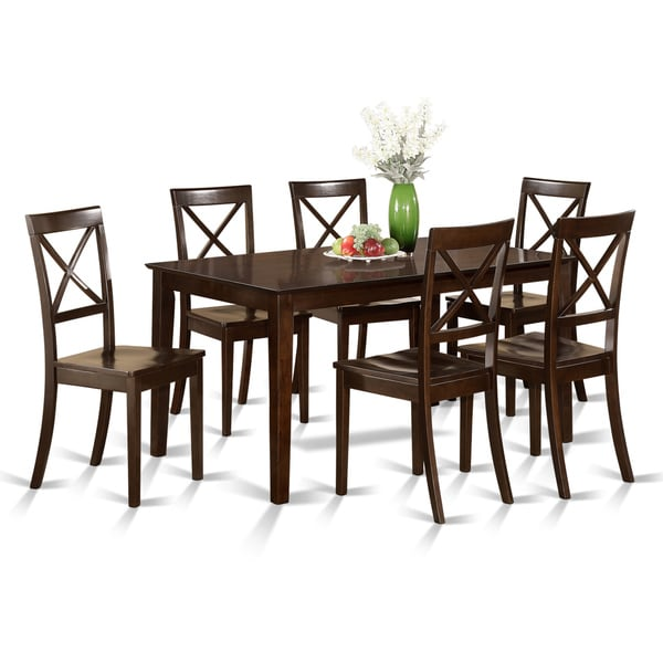 Napa 9 Piece Dark Cherry Finish Formal Dining Room Table: Cappuccino Rubberwood 7-piece Formal Dining Room Set With