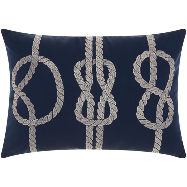 Mina Victory Indoor/ Outdoor Three Knots Navy/ White 14 x 20-inch Throw Pillow by Nourison