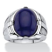 Men's Oval-Cut Genuine Blue Lapis Etched Cabochon Ring Platinum-Plated