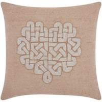 Mina Victory Luminescence Woven Heart Silver/Gold Throw Pillow by Nourison (18 x 18-inch)