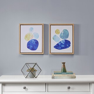 INK+IVY Stacked Blue Circles Blue Framed Canvas