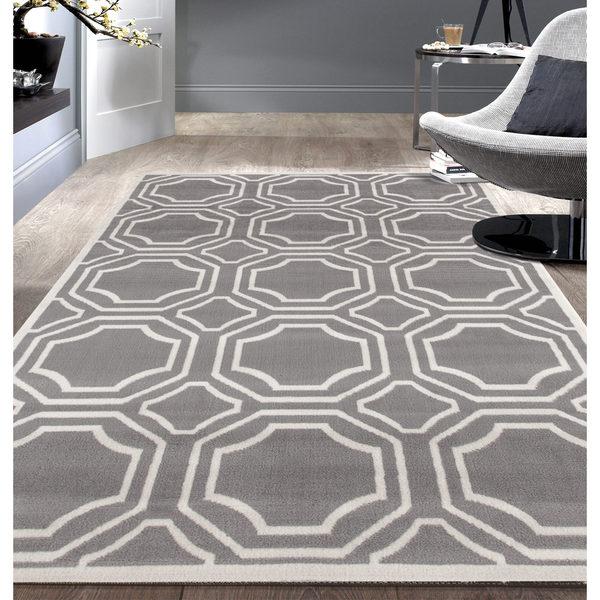 Modern Geometric Grey Area Rug 7 6x9 5 18924483