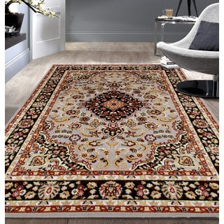 Traditional Oriental Medallion Design Burgundy Area Rug 5