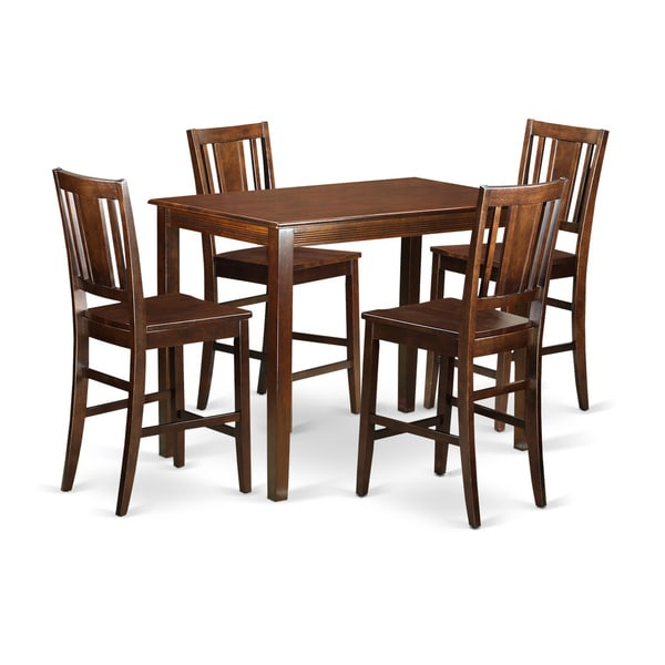 Brown Solid Wood 5piece Counter Height Dining Table Set
