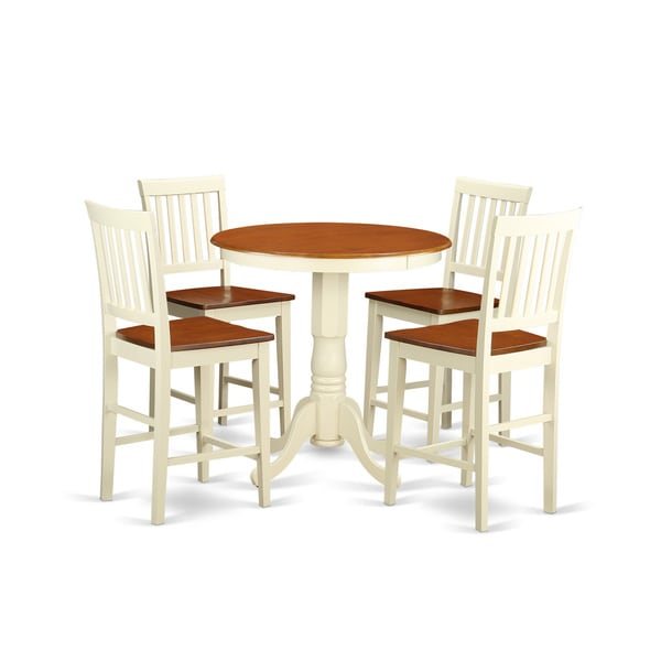 Solid Wood Kitchen Table Sets: Cream And Off-white Solid Wood Five-piece Pub Table