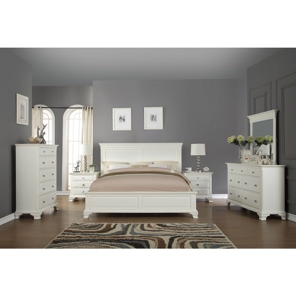 Laveno 012 White Wood Bedroom Furniture Set, Includes