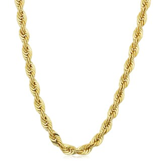 Fremada Men's Yellow Gold Filled 4.2mm Rope Chain Necklace (16 - 36 inches)