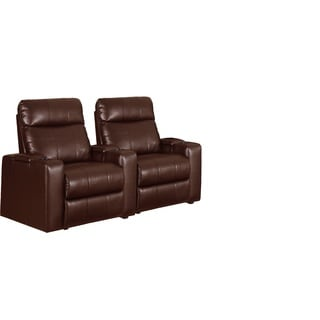 Brown Leather 3 Seat Recliner Home Theater Seating