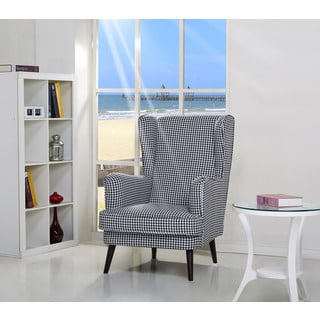 Safavieh Mandell Black White Linen Blend Stripe Chair