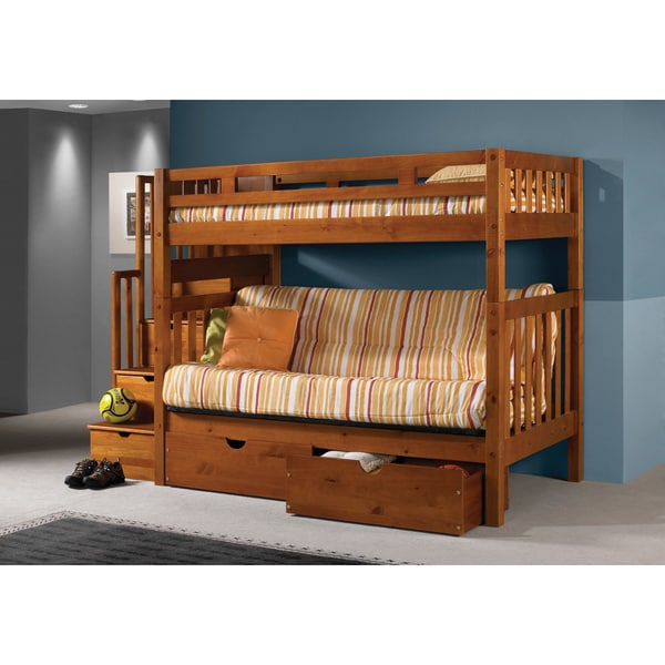 Bed Over Stair Box Google Search: Donco Kids Tall Twin Over Futon Mission Stairway Honey