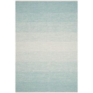 Safavieh Hand Woven Kilim Light Blue Ivory Wool Rug 4 X