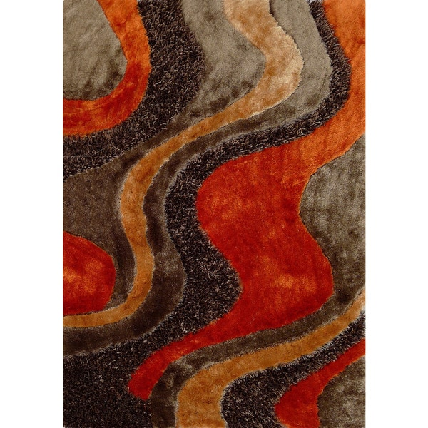 Abstract Art Sunset Design Orange Beige Brown Shag Area